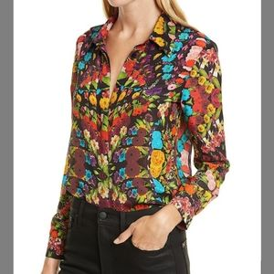 ALICE AND OLIVIA Willa Floral Placket Silk Blouse